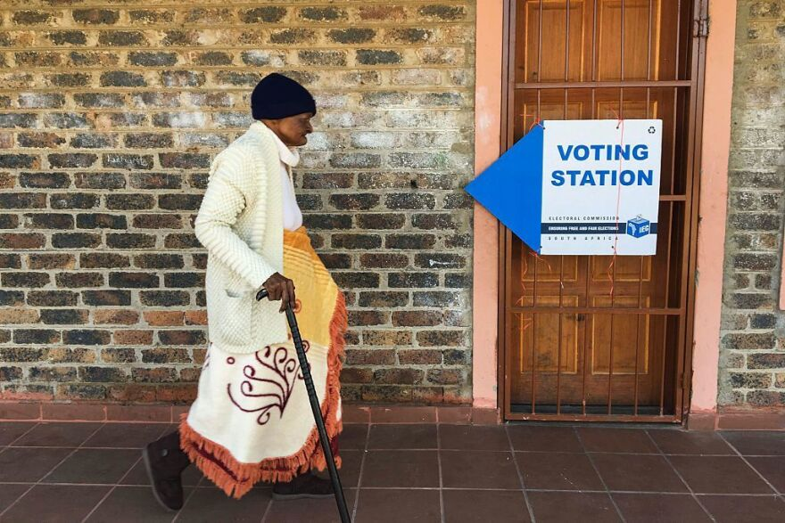 A woman makes her way to a voting station in Zithobeni during the 2016 local government elections on Wednesday in Gauteng, South Africa.