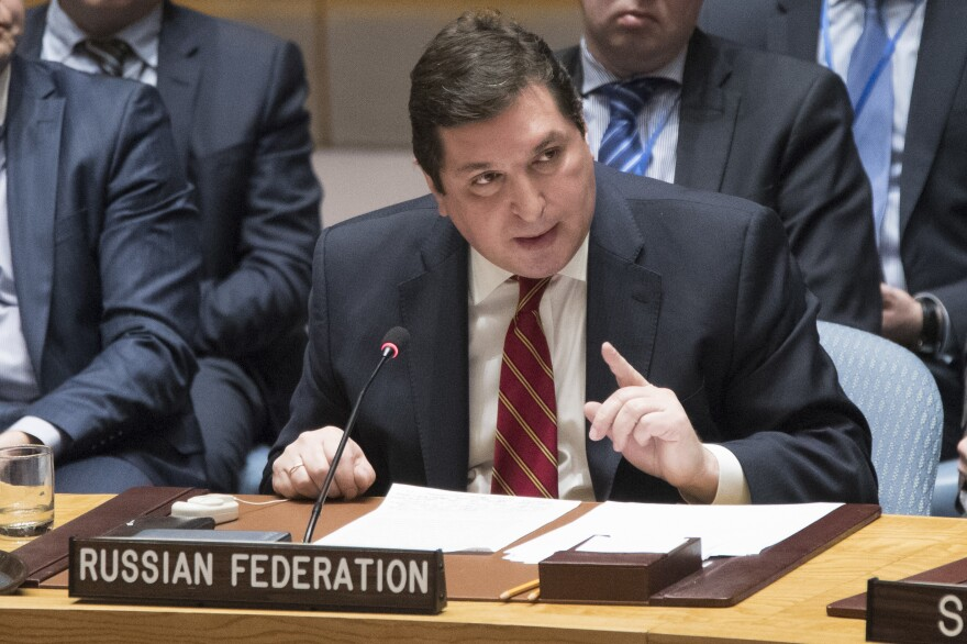 Russia's deputy U.N. ambassador Vladimir Safronkov speaks during a Security Council meeting on the situation in Syria, Friday, at United Nations headquarters.