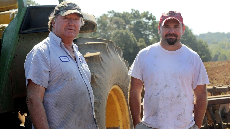 North Carolina farmers Buddy Hoffner (left) and son Chris  have been growing barley for Riverbend Malt House in Asheville since 2010. Riverbend then processes the grain into malt for use by local breweries.