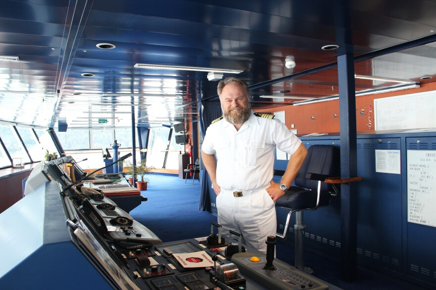 """Capt. Birger Vorland of the Crystal Serenity has spent 38 years at sea. """"Nobody has ever planned a cruise as diligently and as detailed as Crystal Cruises has done for this particular voyage,"""" he says."""