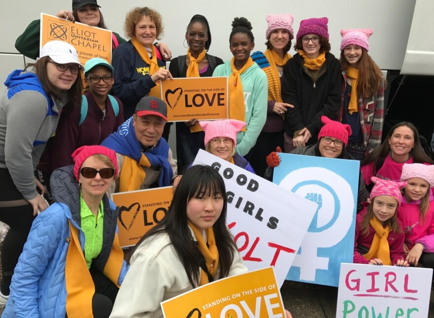 Many of mother-daughter pairs and other families who went to the Women's March on Washington on one charter bus. (Jan. 21, 2017)