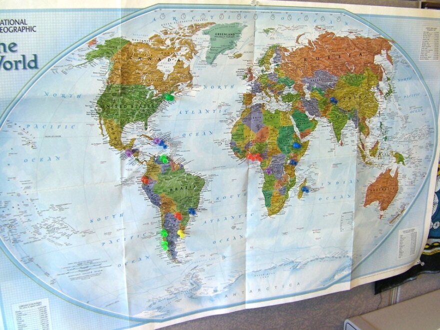 <p>Pins on a map in the Seeding Labs office mark where shipments of lab equipment have been sent. The organization has shipped used supplies to 16 countries so far.</p>