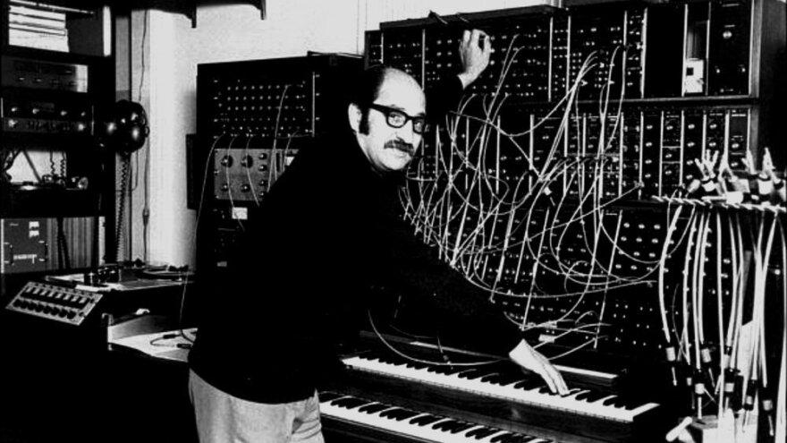 <em>Mother Earth's Plantasia</em> composer Mort Garson with his Moog synthesizer setup.