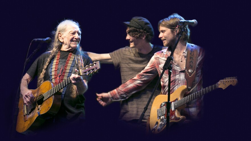 """""""There's nothing that makes a parent happier than having your kids up there doing things with you,"""" Willie Nelson says of his sons Micah and Lukas."""