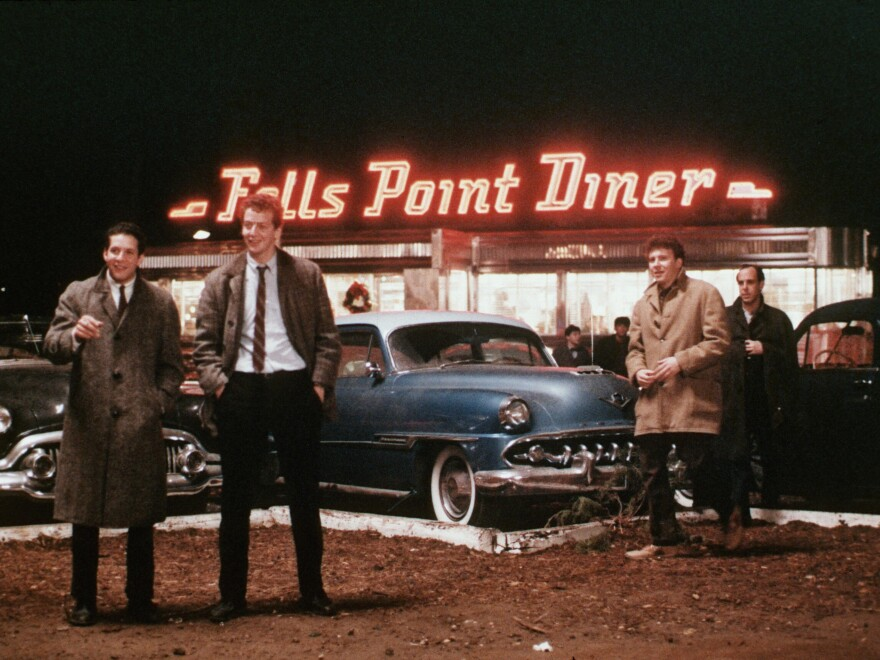 Steve Guttenberg (left) stars alongside Daniel Stern (center) and Paul Reiser in 1982's <em>Diner</em>, which continues to be one of his most beloved film projects. He sometimes appears as a guest at revival screenings.
