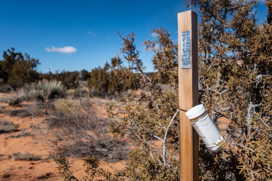A small plastic bottle is attached to a wooden stake driven into red sand.