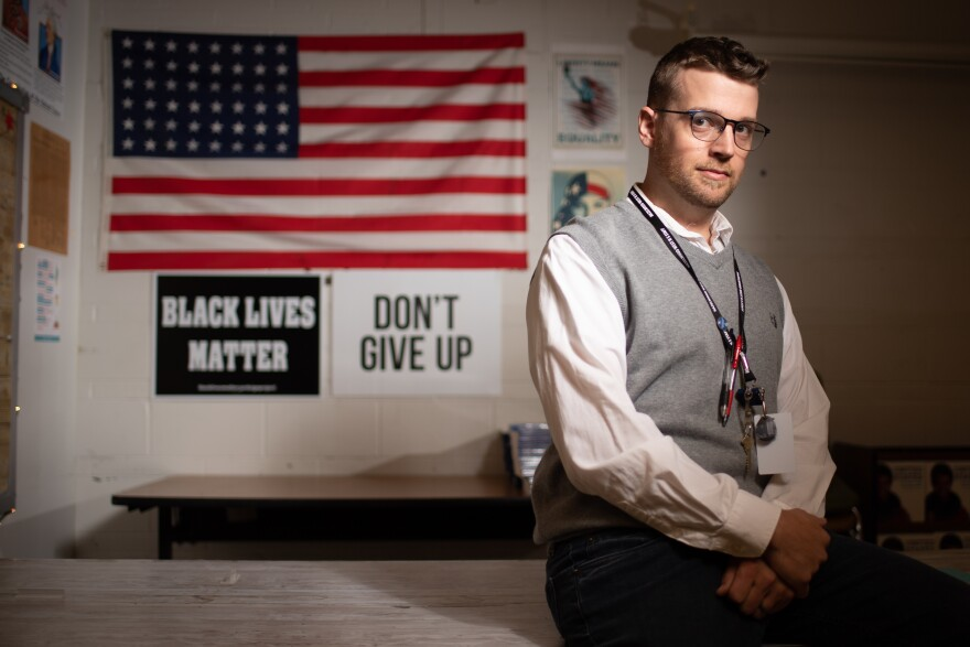 Joseph Kibler poses for a portrait in his classroom on August 11, 2021 at Hazelwood West High School in Hazelwood, Missouri.