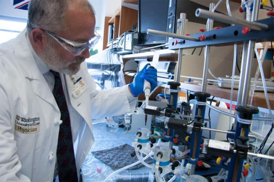 Allan Doctor, professor of pediatrics at Washington University School of Medicine, is part of a research team working to develop an artificial blood substitute.