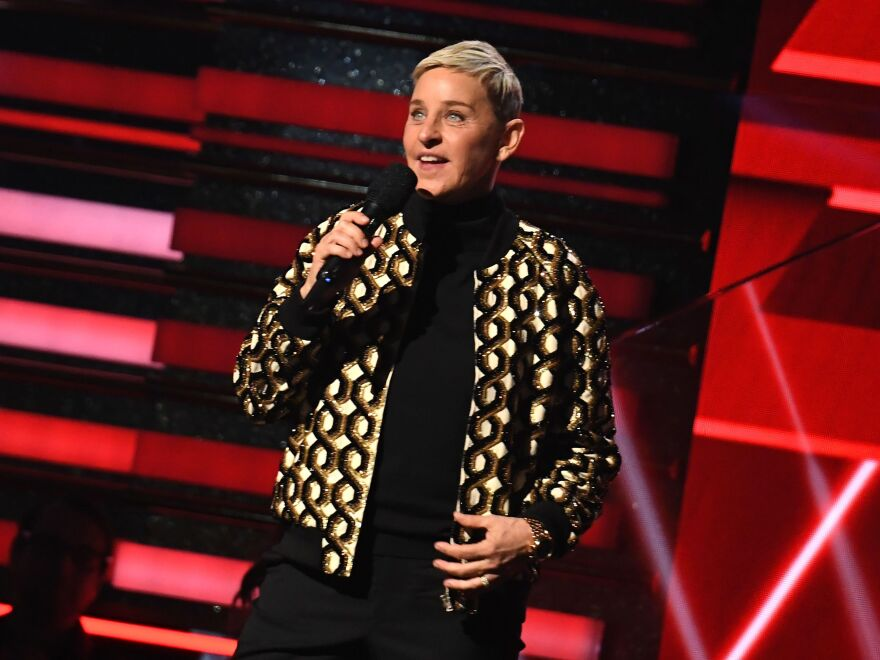 Talk show host and comedian Ellen DeGeneres, on stage at the Grammy Awards in Jan. 2020.
