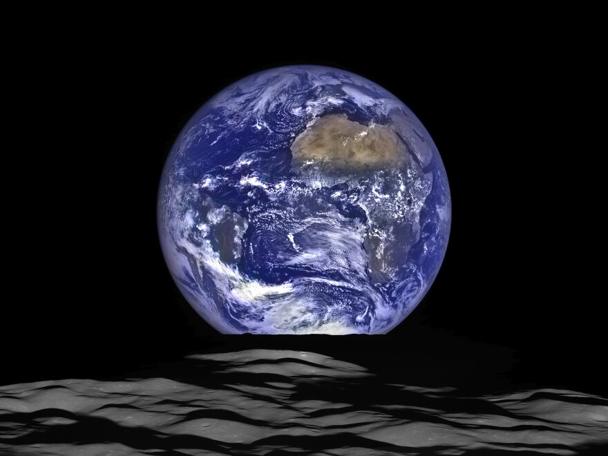 NASA's Lunar Reconnaissance Orbiter (LRO) captured a unique view of Earth, composed from a series of images, from the spacecraft's vantage point in orbit around the moon on Oct. 12, 2015.