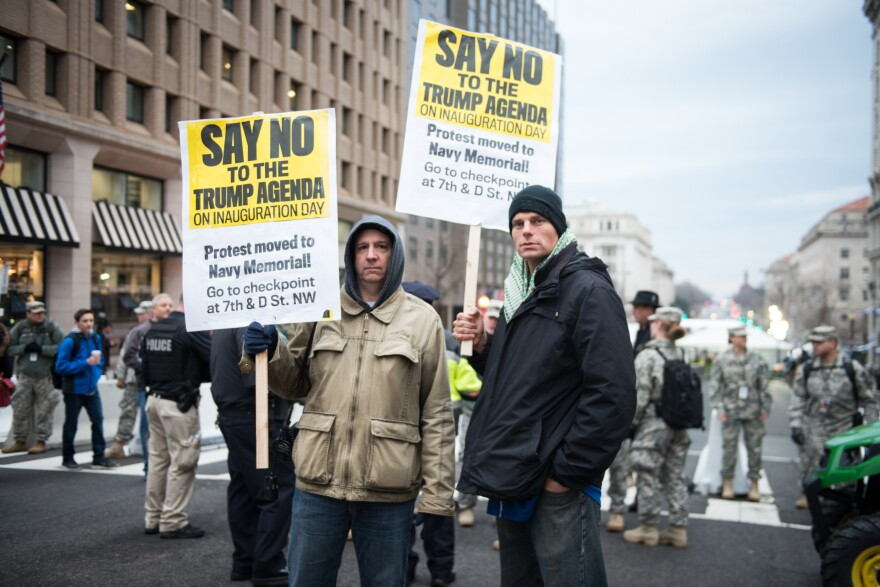 Roger Scott (left) and Daniel Shaw have been to several inaugurations at which they protest with no specific party affiliation.