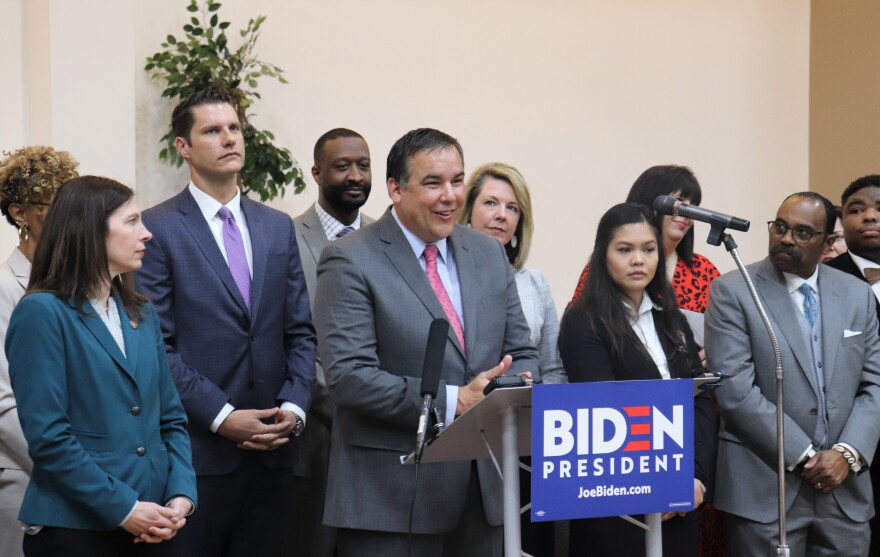 Mayor Andrew Ginther and a slate of other Central Ohio Democrats endorse Joe Biden for president on March 9, 2020.