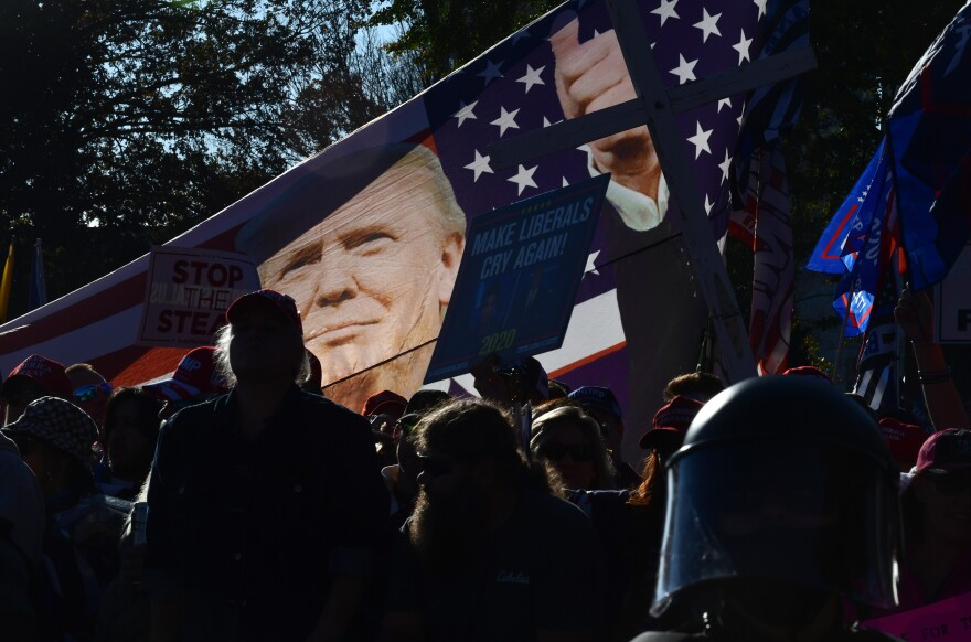 Demonstrators raise a flag during the march.