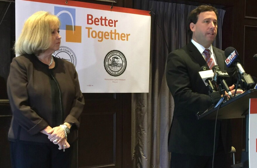 St. Louis Mayor Lyda Krewson and St. Louis County Executive Steve Stenger take questions after announcing their support for a task force to examine government spending.