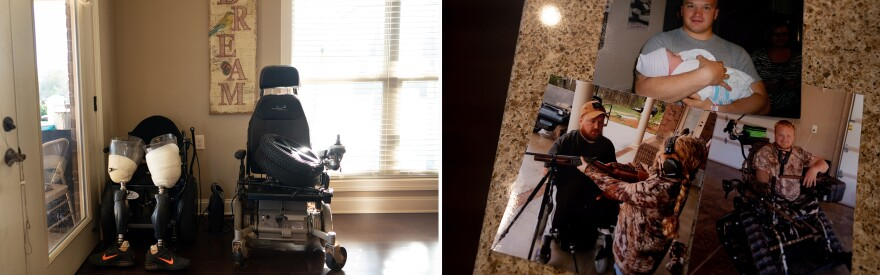 Old wheelchairs and prosthetic legs sit in a corner of Former Staff Sgt. J.D. Williams' home.