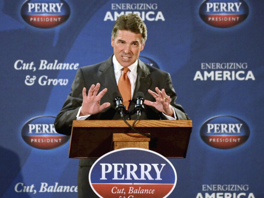 <p>Republican Presidential candidate Texas Gov. Rick Perry announced his flat-tax plan in Gray Court, S.C. on Tuesday. </p>
