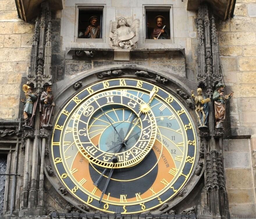 An astronomical clock in Prague.