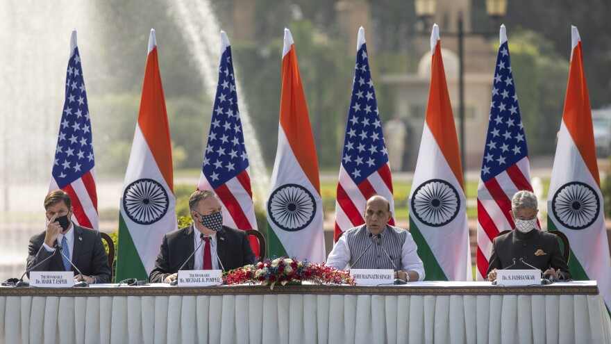 U.S. Secretary of Defense Mark Esper, U.S. Secretary of State Mike Pompeo, Indian Defense Minister Rajnath Singh and Foreign Minister Subrahmanyam Jaishankar (left to right) address a joint press conference on Tuesday at Hyderabad House in New Delhi.