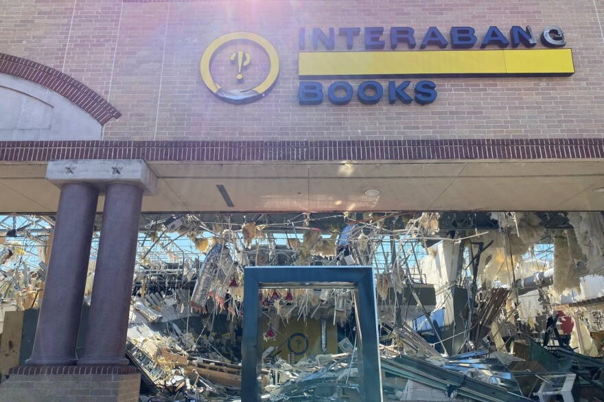 Storm-wrecked Interbang Books in the Preston Royal Shopping Center.