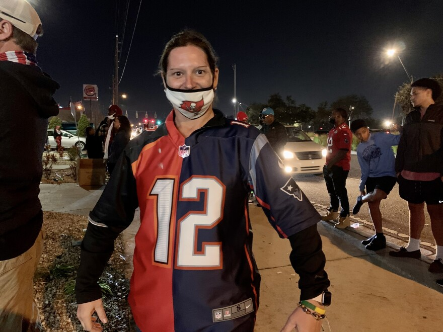 Angie Nielsen, wearing a split Tom Brady jersey, came down from Illinois for the Super Bow.