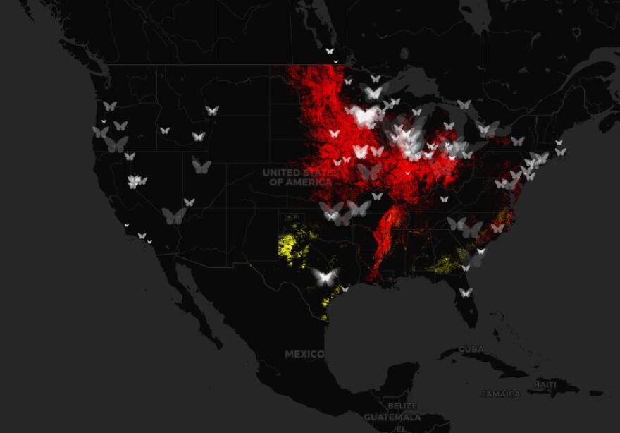 A map that displays where butterflies migrate and where dicamba is projected to be used in June.