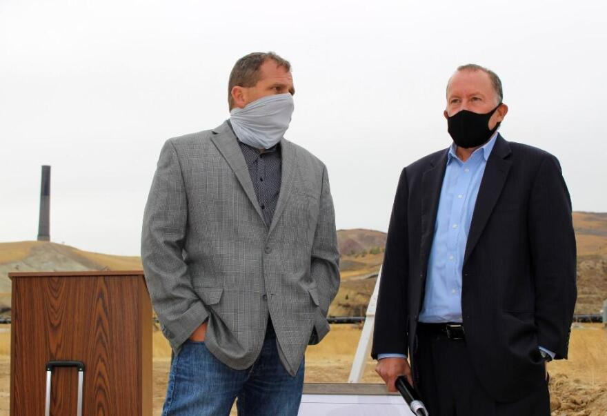EPA's Associate Deputy Administrator Doug Benevento (r) visits with Anaconda-Deer Lodge County Chief Executive Officer Bill Everett during a groundbreaking ceremony for a new hotel complex in Anaconda. October 13, 2020.