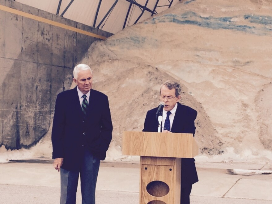 Attorney General Mike DeWine made the settlement announcement during a news conference Wednesday. Ohio Dept. of Transportation Director Jerry Wray was at his side.