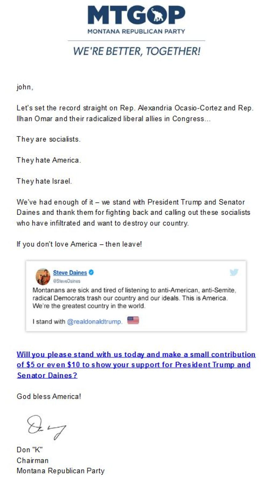 Screen capture of a Montana Republican Party fundraising email