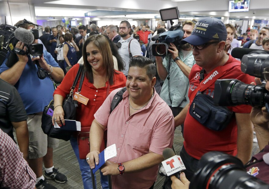 Passengers in Fort Lauderdale, Fla., prepare to board JetBlue Flight 387 to Santa Clara, Cuba, on Wednesday.