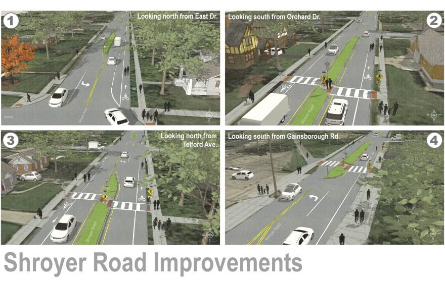 Renderings of Oakwood's Shroyer Road construction plans.