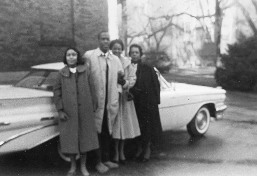 The whole family came along to drop Kent Garrett off at college in fall 1959. He's pictured above in Harvard Yard with his sister, aunt and mother.