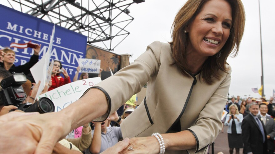 Republican presidential candidate Rep. Michele Bachmann arrives for a rally in Costa Mesa, Calif., on Friday.