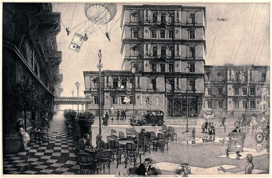 """Milton's <em>The Ministry (Second State)</em> was inspired by the story of Marcel Proust and James Joyce sharing a Paris taxi in 1922. <a href=""""http://media.npr.org/assets/img/2014/11/14/the-ministry_custom.jpg"""" target=""""_blank"""">Click here for a closer look.</a>"""