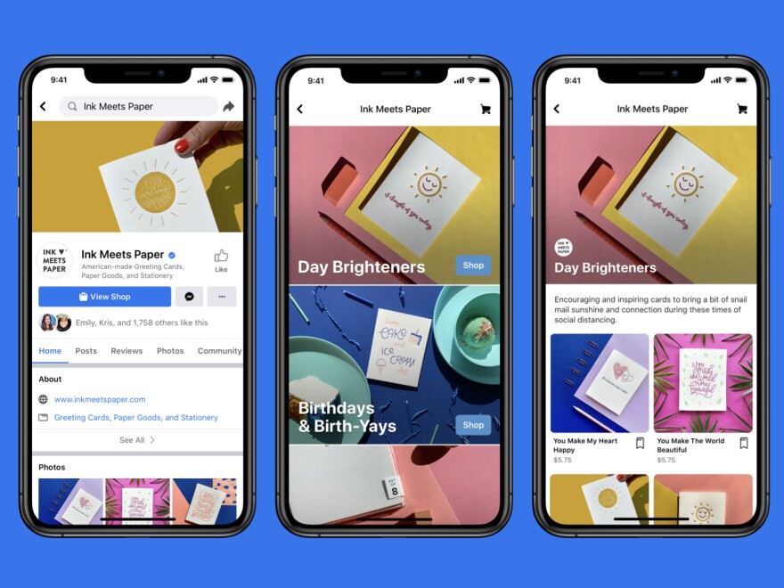 Facebook hopes to make commerce a bigger part of its operation by letting businesses set up storefronts in its apps.