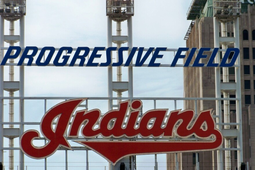 a photo of Indians sign at Progressive Field.
