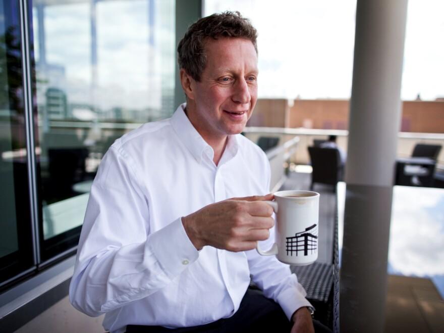 Uri Berliner drinking coffee at the NPR headquarters.