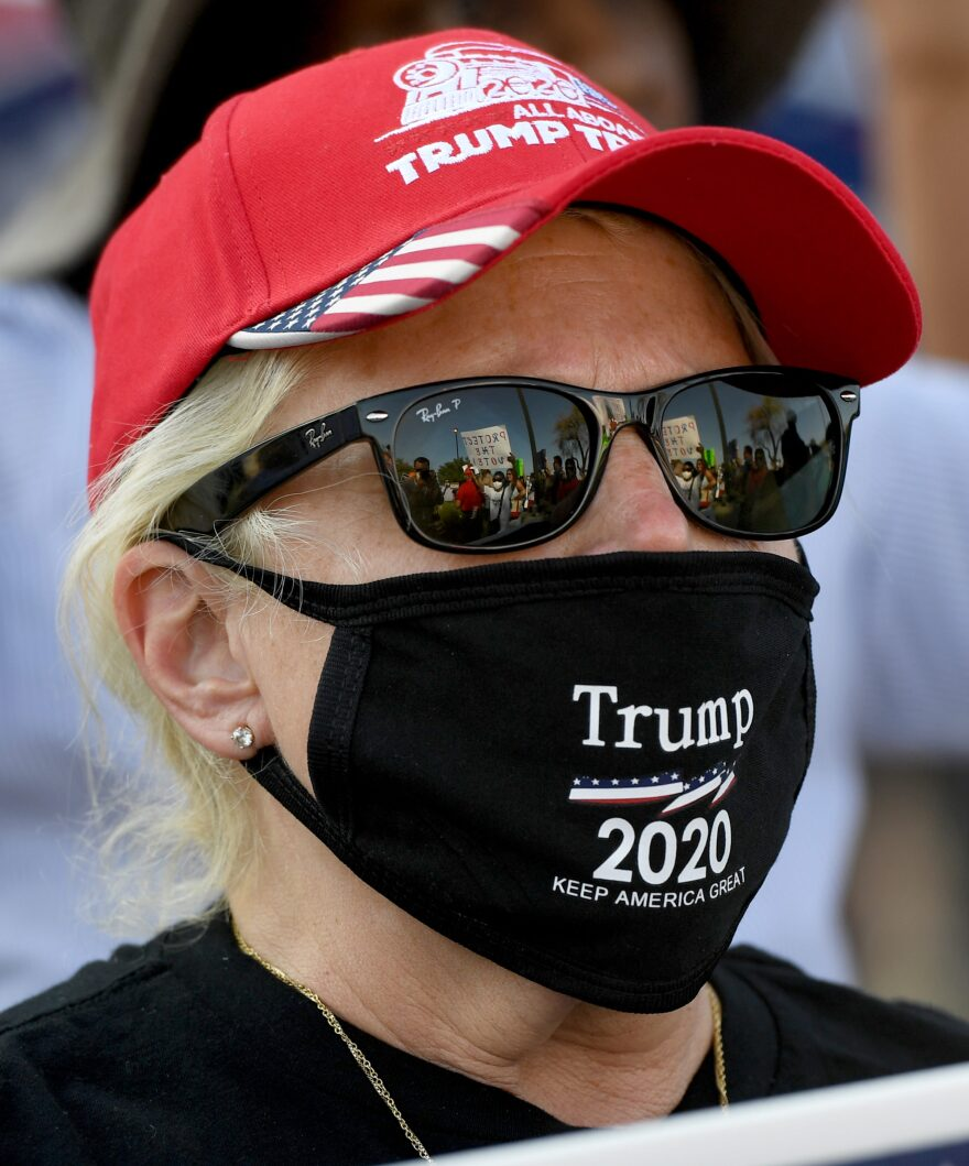 A person protests against the passage of a mail-in voting bill during a Nevada Republican Party demonstration at the Grant Sawyer State Office Building on August 4, 2020 in Las Vegas, Nevada. (Ethan Miller/Getty Images)