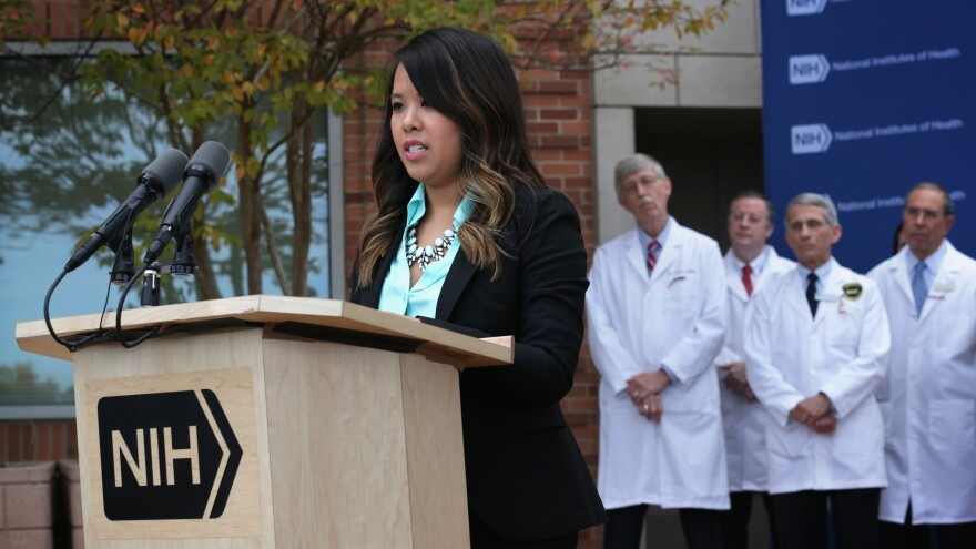 Dallas nurse Nina Pham speaks at a press conference after she was confirmed free of Ebola and released from a National Institutes of Health facility on Friday.