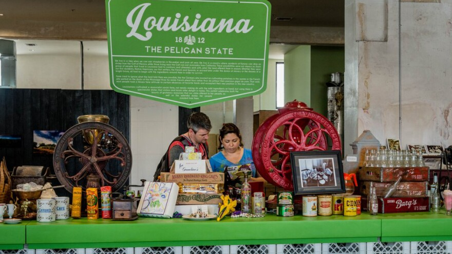 SoFAB's exhibits include exhaustive food and drink memorabilia from states below the Mason-Dixon Line. This exhibit highlights Louisiana fare.