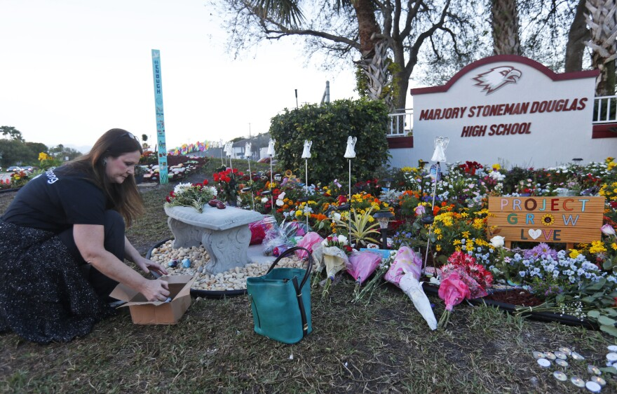 Suzanne Devine Clark, an art teacher at Deerfield Beach Elementary School, places painted stones at a memorial outside Marjory Stoneman Douglas High School during the first anniversary of the school shooting on Feb. 14, 2019, in Parkland, Fla. The state passed its red flag law in 2018 after the shootings at the high school.