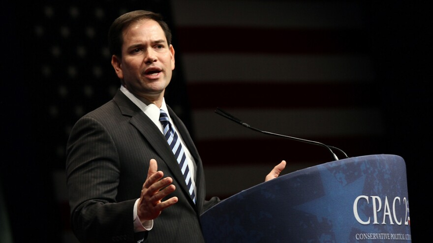 Sen. Marco Rubio, R-Fla., delivers a speech during the annual Conservative Political Action Conference in February in Washington.
