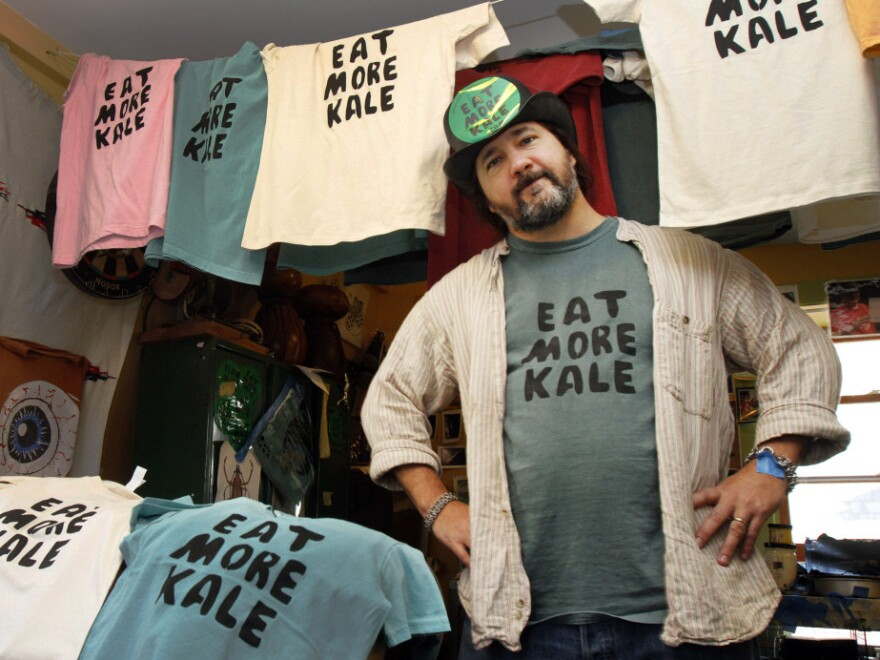 """Bo Muller-Moore, known by some as the """"Eat More Kale"""" guy, hand screen prints his shirts from his Montpelier, Vt., studio."""