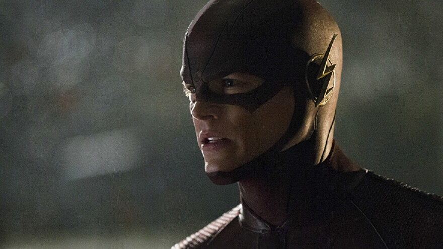 Grant Gustin as Barry Allen/The Flash on The CW's <em>The Flash</em>.