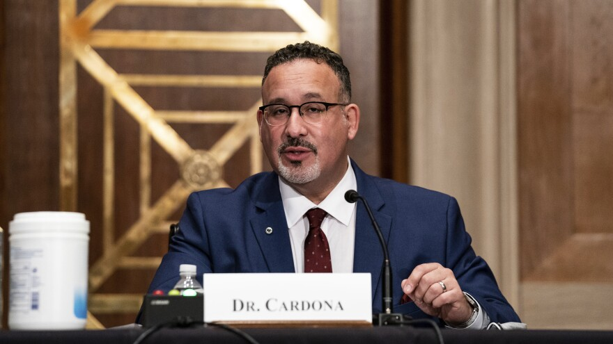 President Biden's education secretary nominee, Miguel Cardona, appeared before the Senate Health, Education, Labor and Pensions Committee on Wednesday.