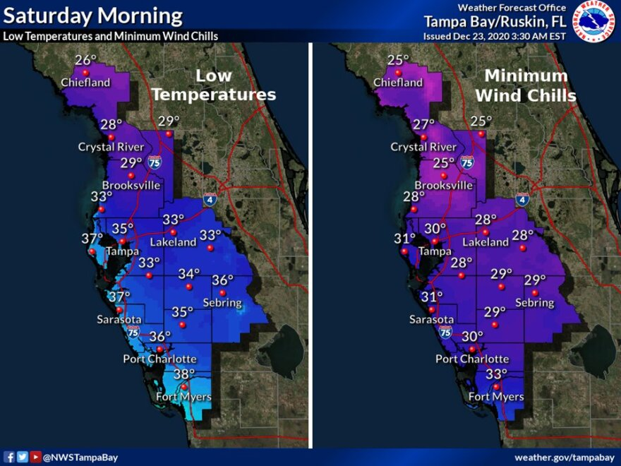 Wind chill chart for Tampa