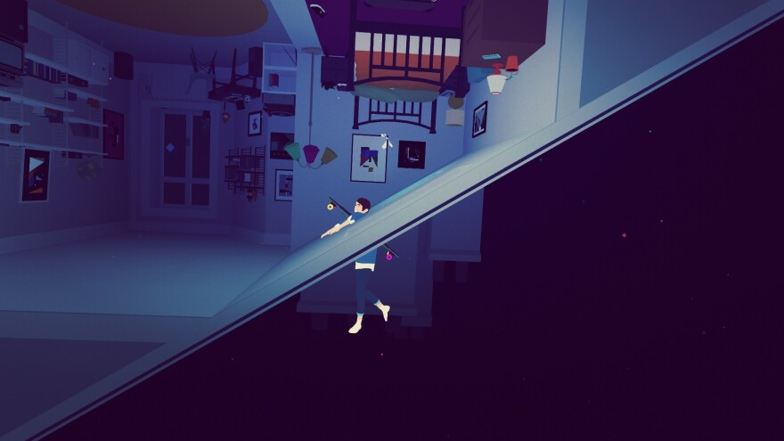 In a moment from the game's prologue,<em> </em>The Fool — still in her civilian identity — has her world turned literally upside down.