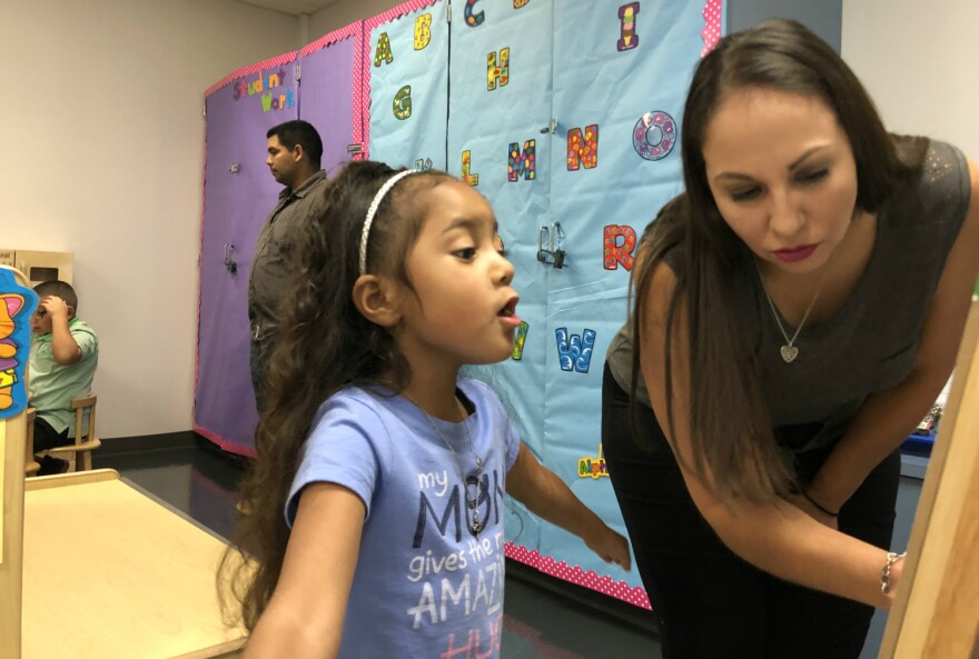 Elitza Marie Holtz, right, helps her daughter Amariana explore her new pre-k classroom at Southwest ISD's Big Country Elementary Aug. 22, 2019.