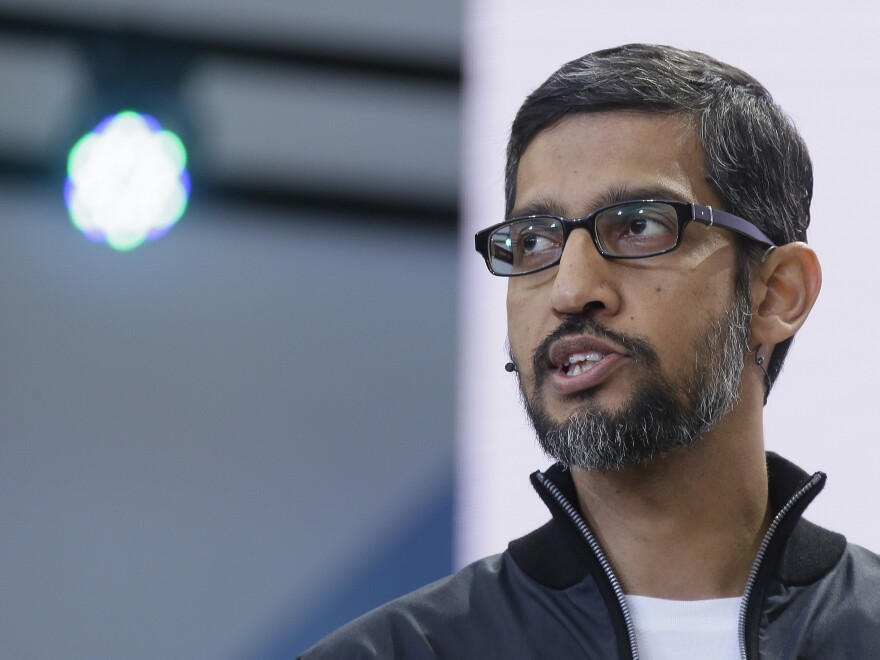 Google CEO Sundar Pichai delivers the keynote address of the Google I/O conference, in May.