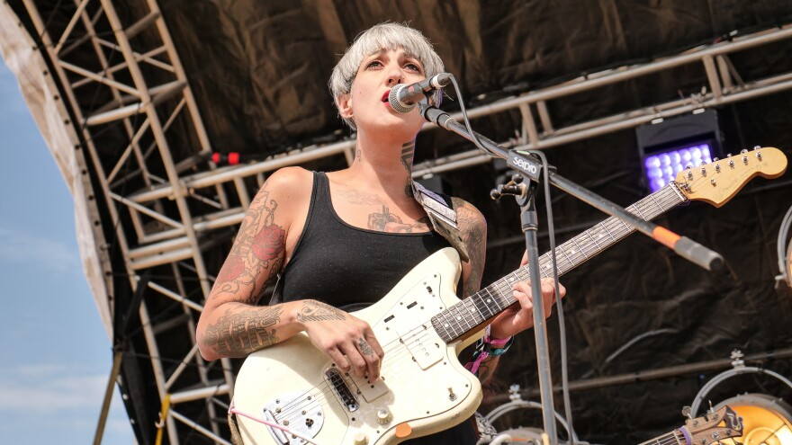 Luz Elena Mendoza fronts the band Y La Bamba during a performance at Los Dells Festival.