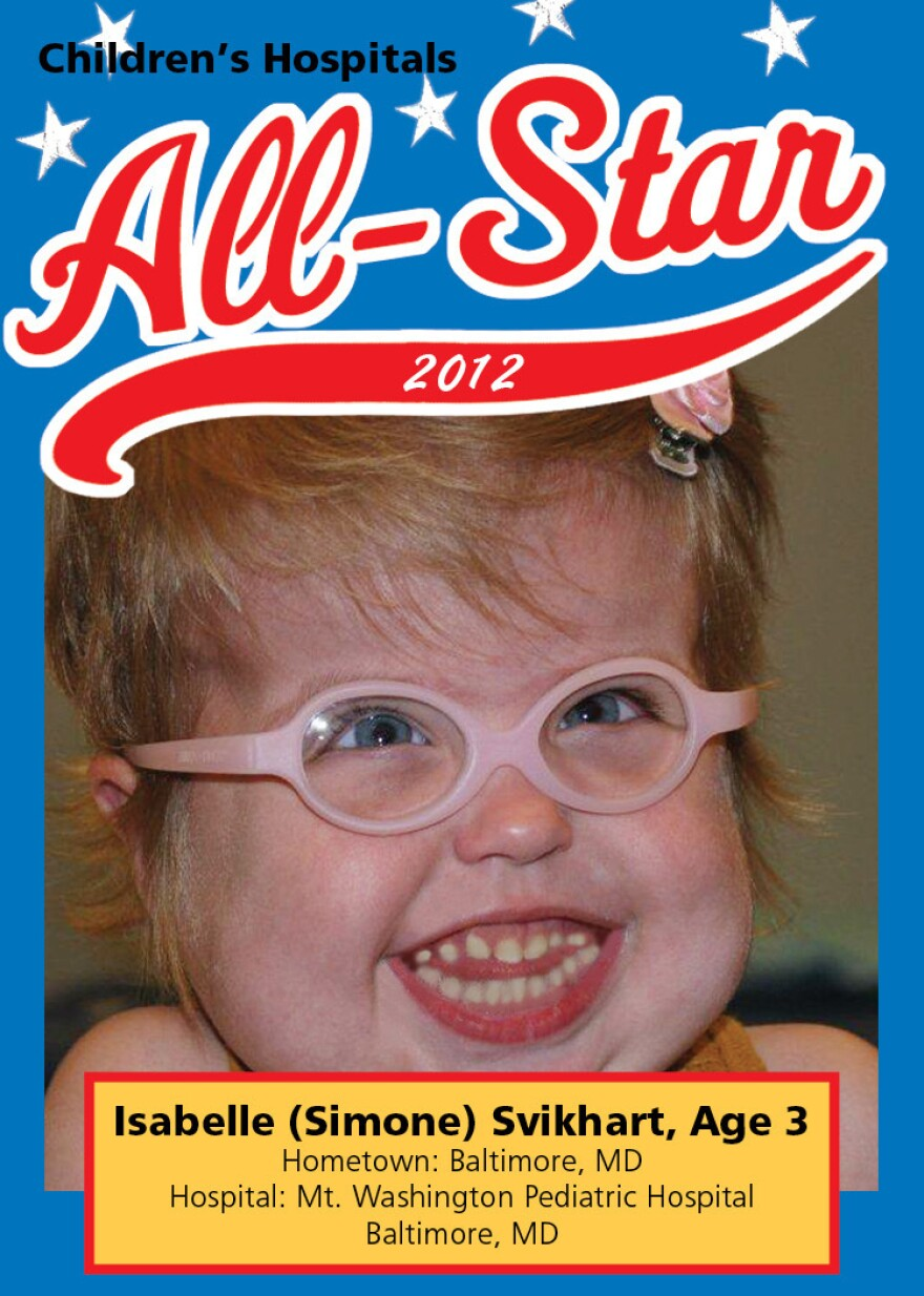 """Isabelle """"Simone"""" Svikhart, 3, has spent 13 months in the hospital for treatment of a range of health conditions. The Children's Hospital Association distributed a trading card with her picture and details of her case to lobby against Medicaid cuts."""